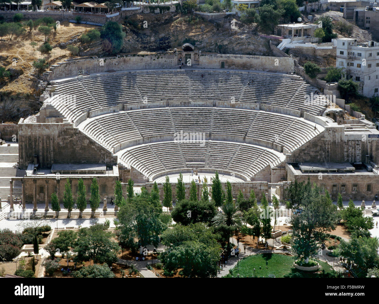 Roman amphitheater in Amman - Stock Image