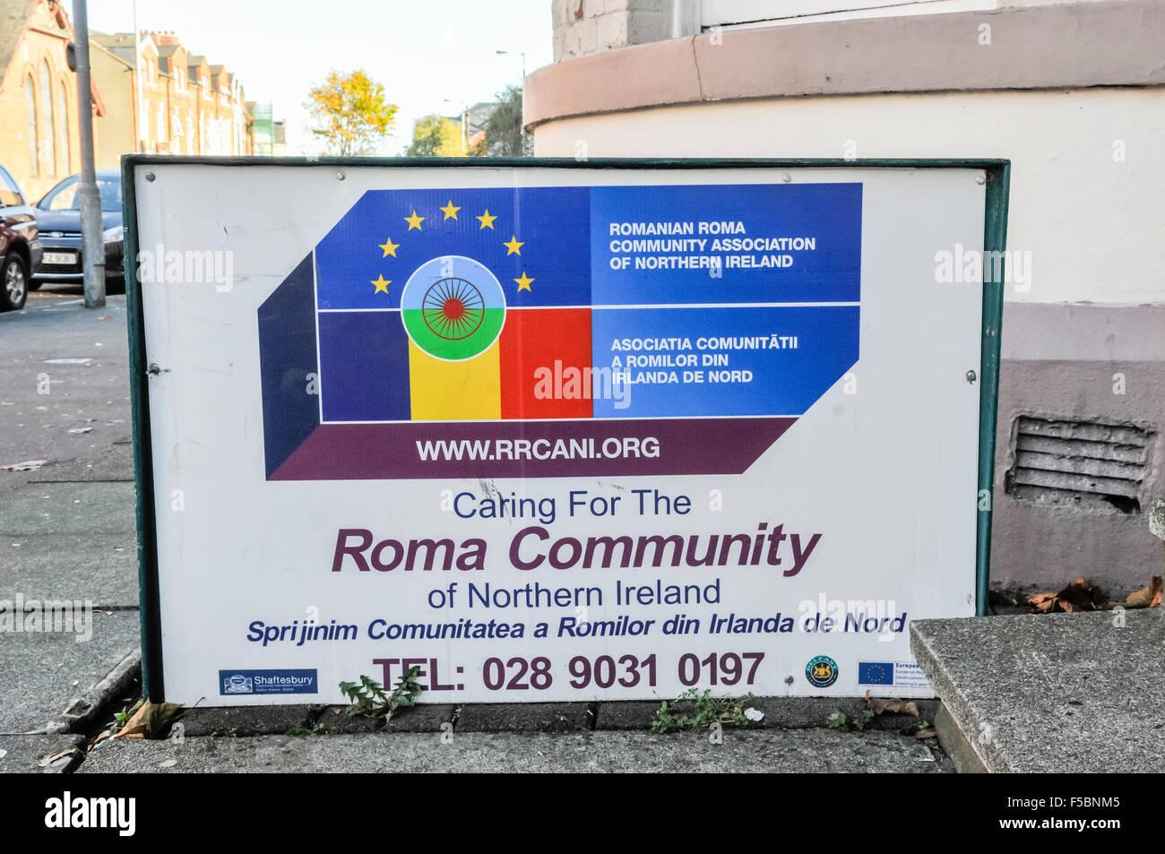 Romanian Roma Community Association of Northern Ireland. - Stock Image