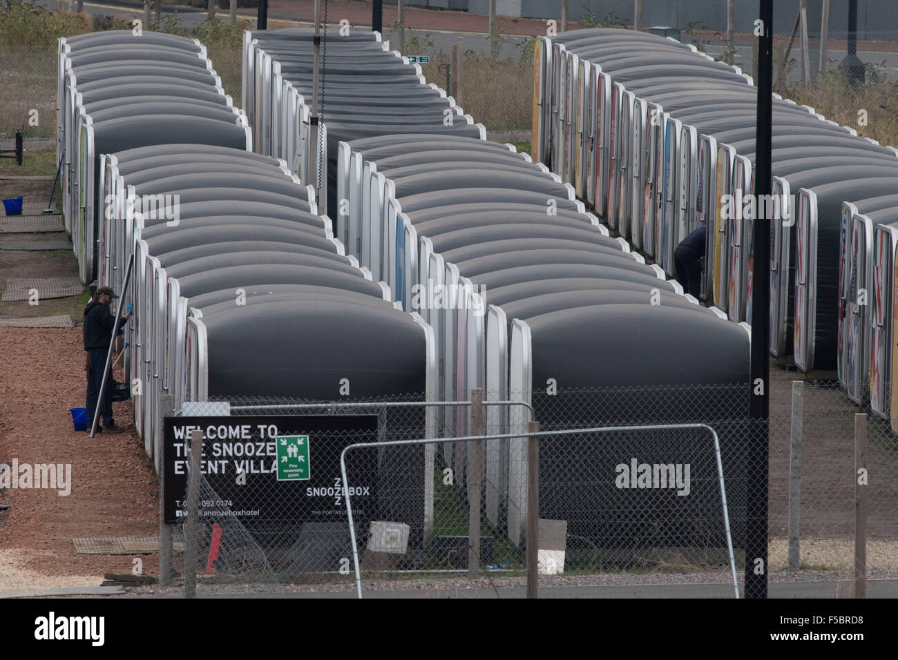 The temporary Snoozebox hotel at Porth Teigr Cardiff Bay which was set up for the Rugby World Cup 2015. - Stock Image