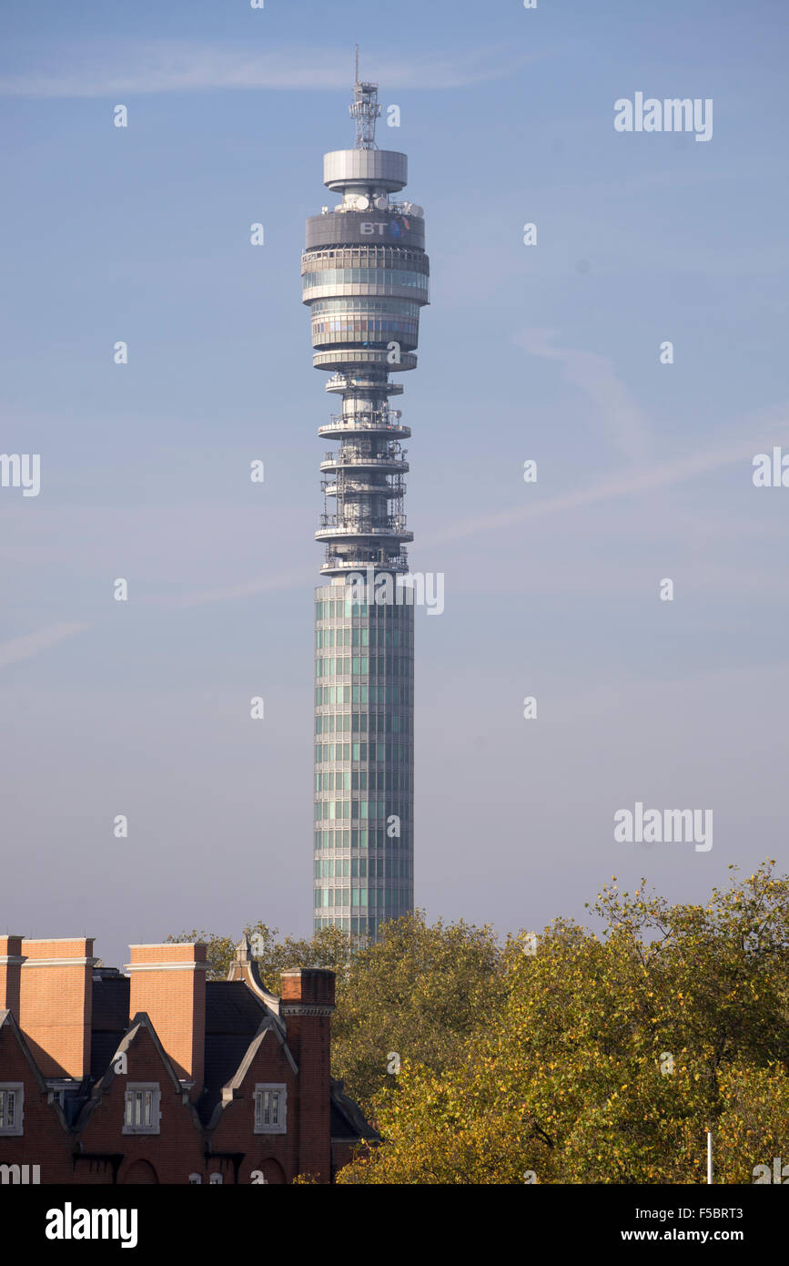 London's BT Tower seen from Bloomsbury - Stock Image