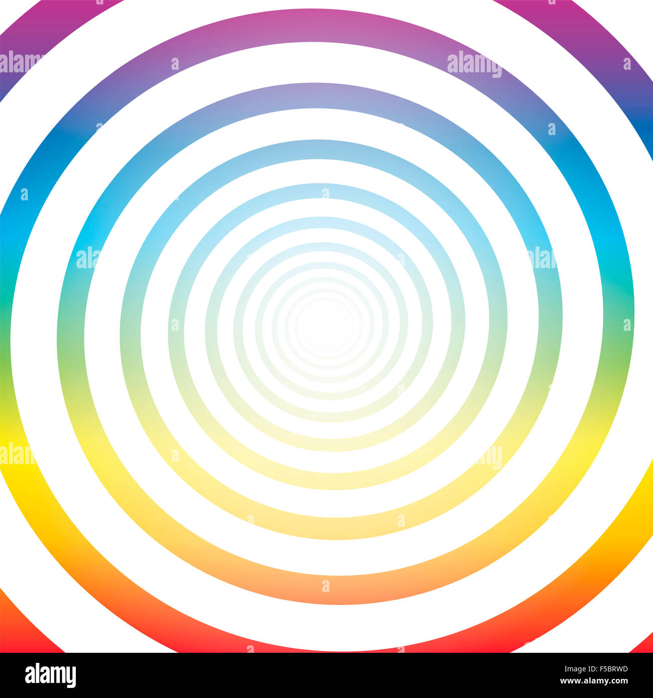Spiral tunnel, rainbow colors, white shiny center, three-dimensional. - Stock Image