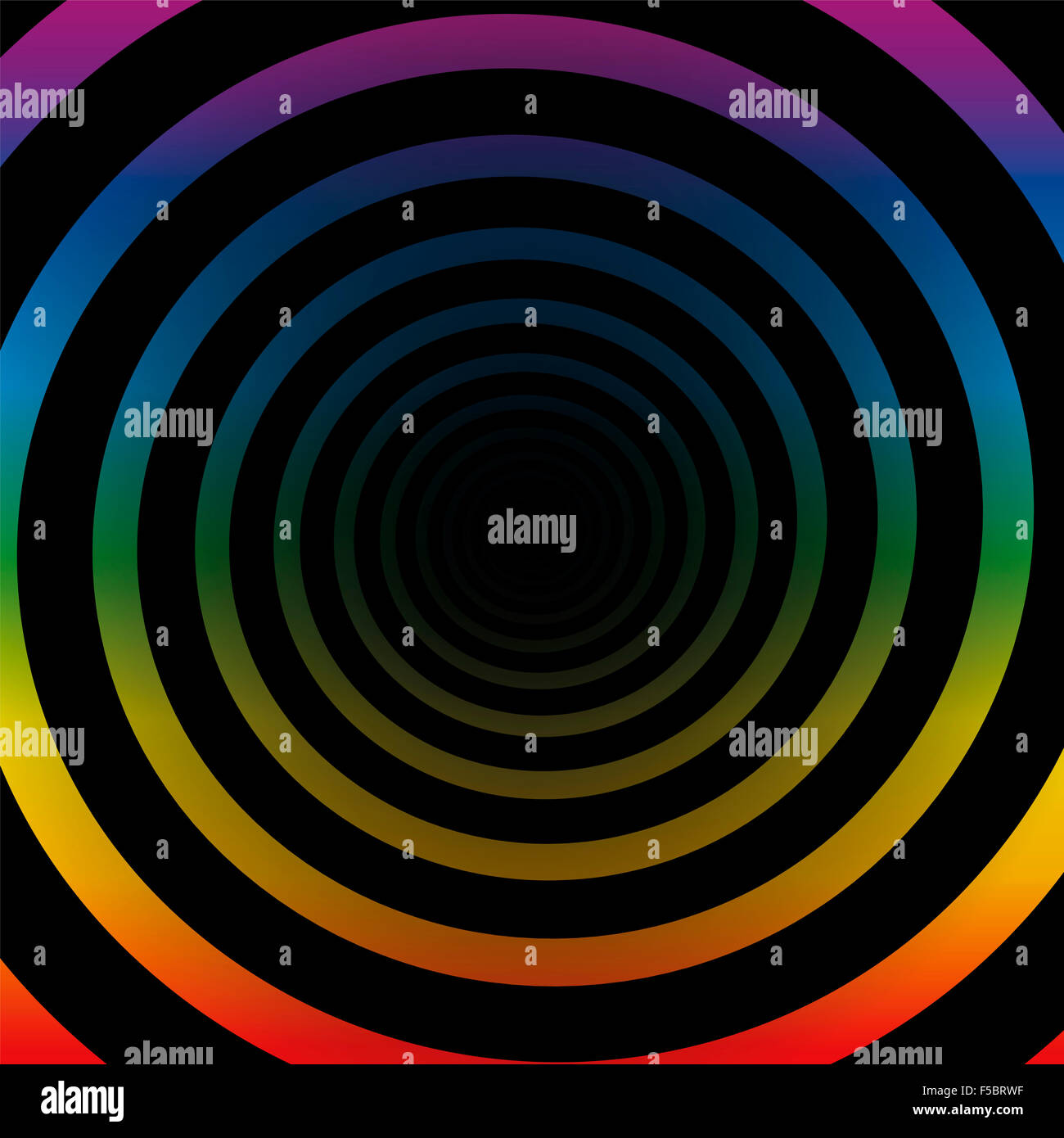 Spiral tunnel, rainbow colors, black gradient center, three-dimensional. - Stock Image