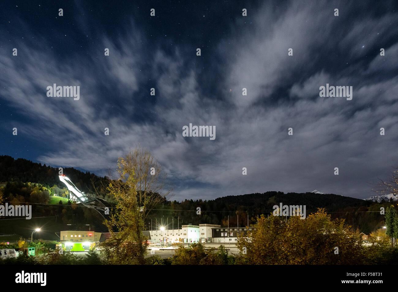 Alight ski jump of Garmisch-Partenkirchen, Germany, Europe, EU - Stock Image