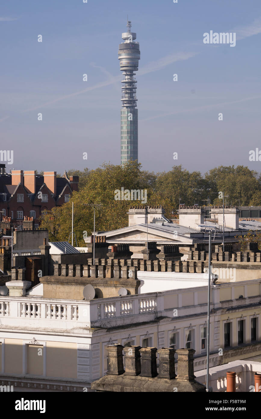 BT Tower, formerly the Post Office Tower in Fitzrovia seen from rooftops in Bloomsbury - Stock Image