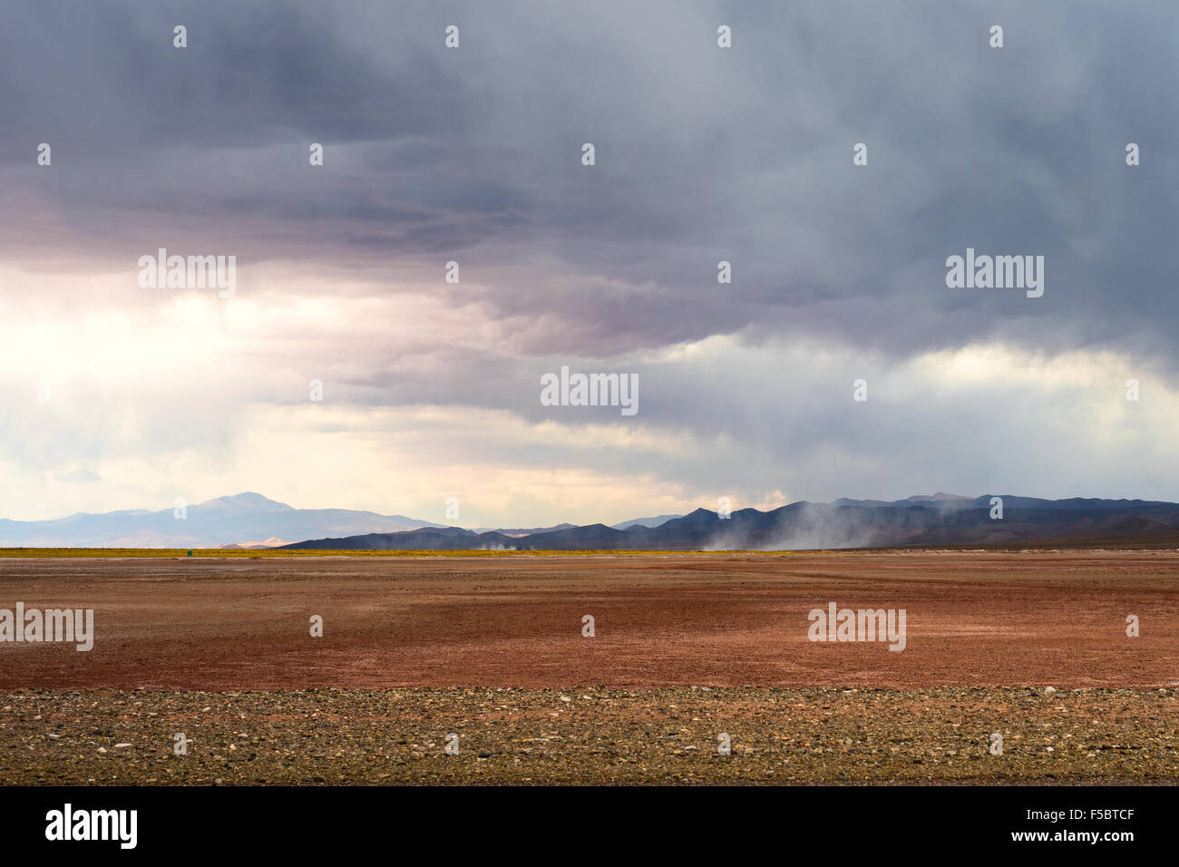 Emergence of dust storms in the desert of Salinas Grandes, northern Argentina - Stock Image