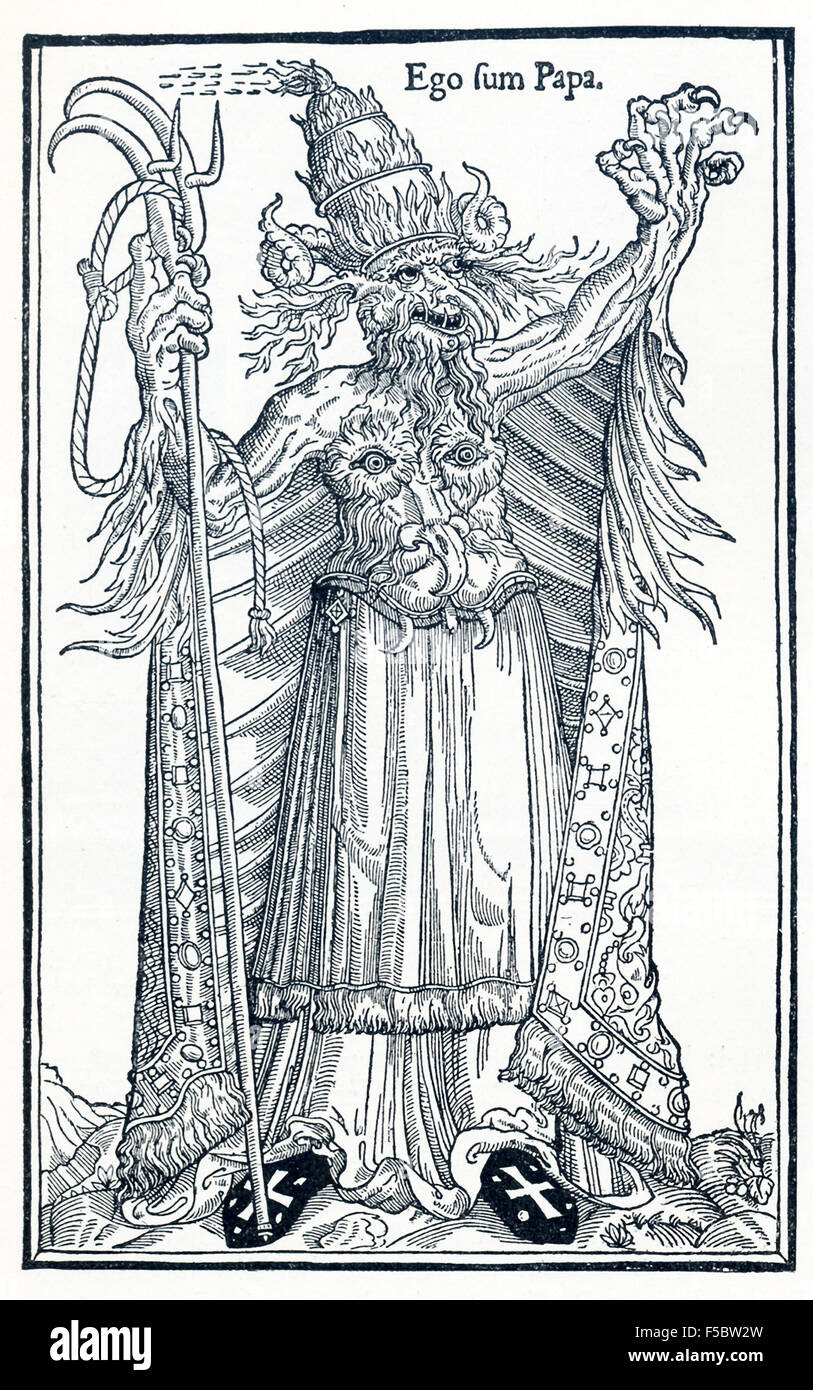 The Latin phrase here, Ego sum Papa, translates as 'I am the Pope.'  This was a French woodcut against Pope - Stock Image