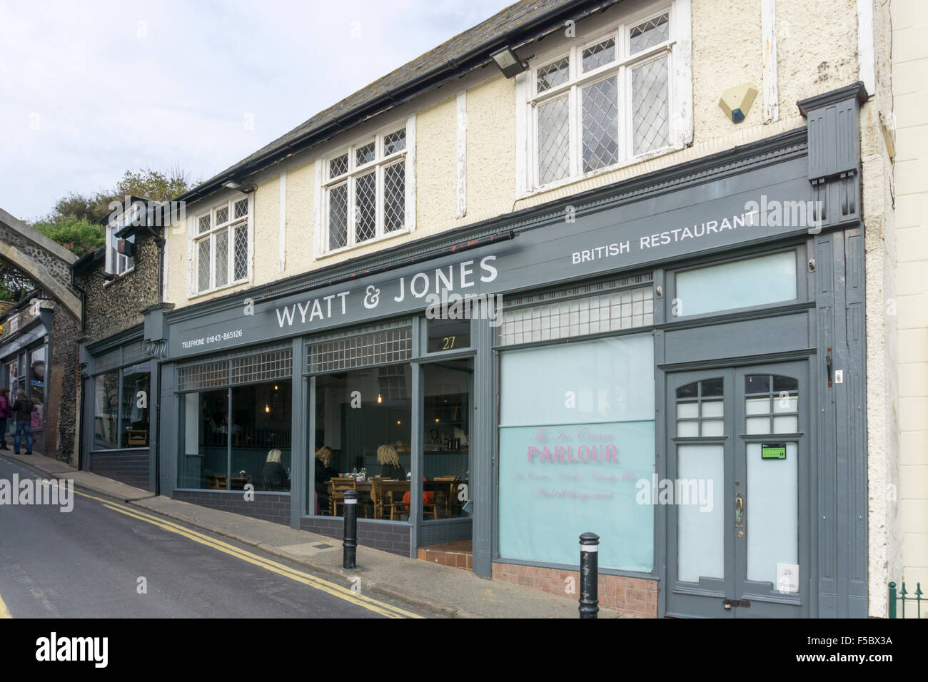 Wyatt & Jones British Restaurant in Broadstairs, Kent. - Stock Image
