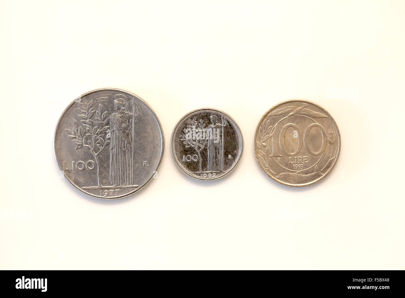 old italian currency coin evolution (cento lire) - Stock Image