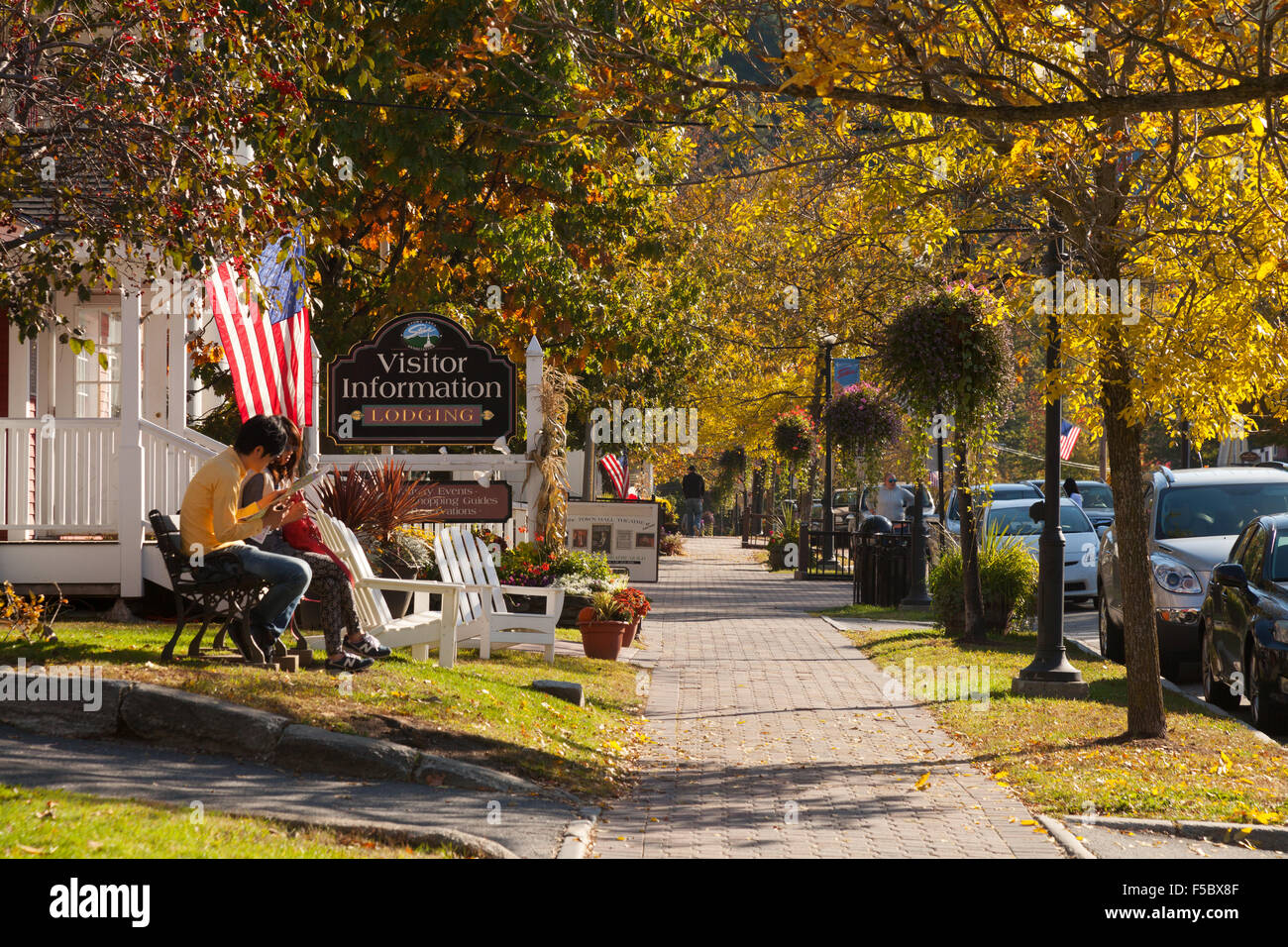 View of Main Street, Stowe, Vermont USA - Stock Image