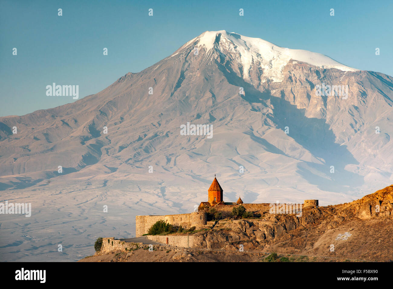 Khor Virap monastery in Armenia and Mount Ararat in Turkey. - Stock Image