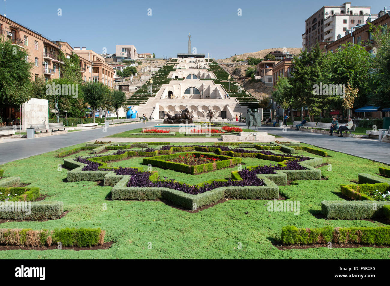 The Cascade monument and gardens in Yerevan, the capital of Armenia. - Stock Image