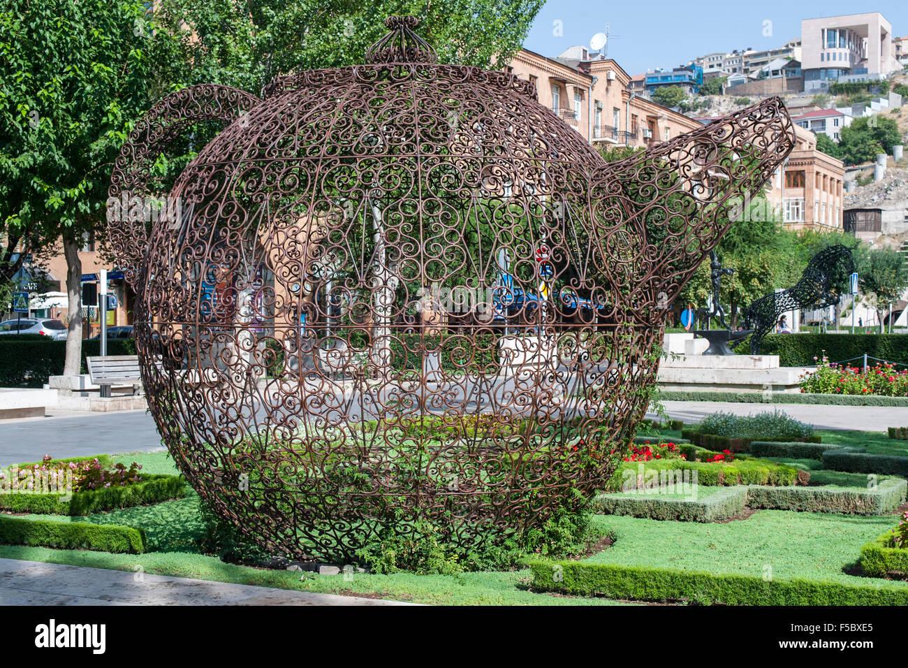 Tea pot art piece by Joana Vasconcelos in Yerevan, the capital of Armenia. - Stock Image