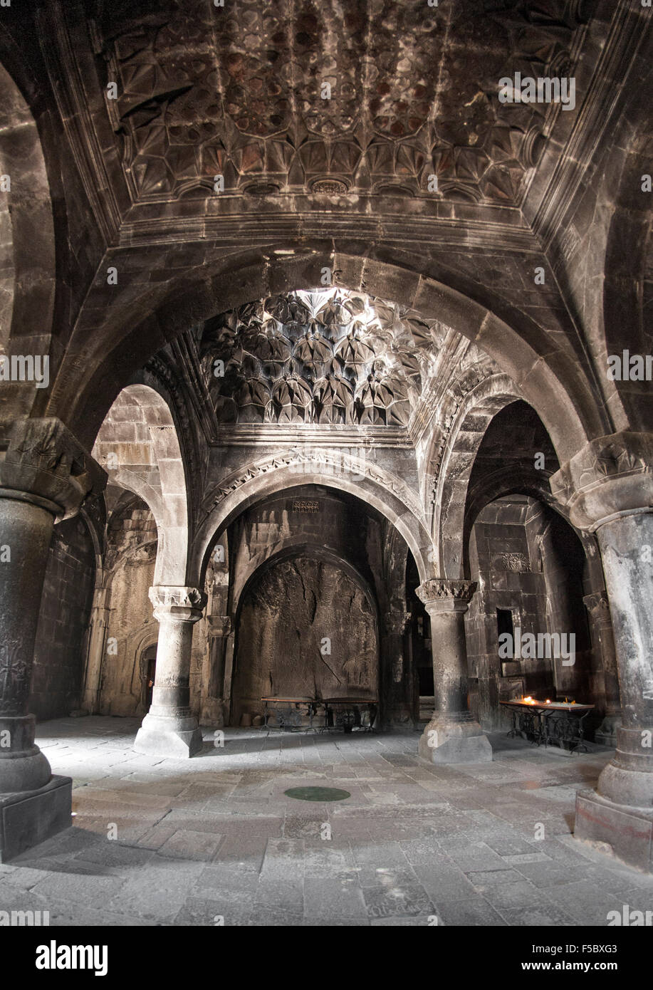 Gavit of the Geghard monastery in Armenia. - Stock Image