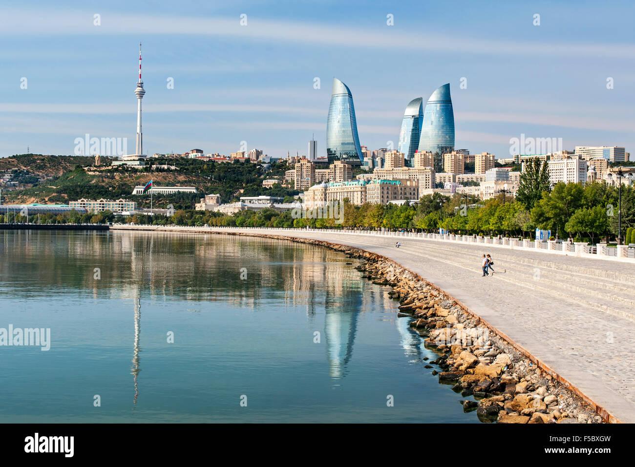 Baku Bay and the Baku skyline and promenade. - Stock Image