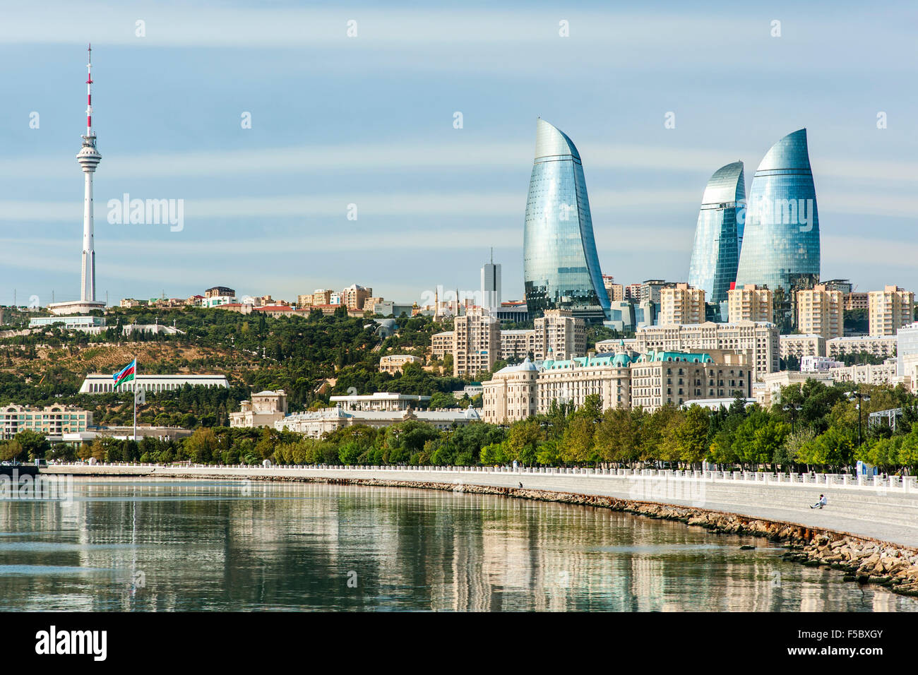 Baku Bay and the Baku skyline and promenade. - Stock Image