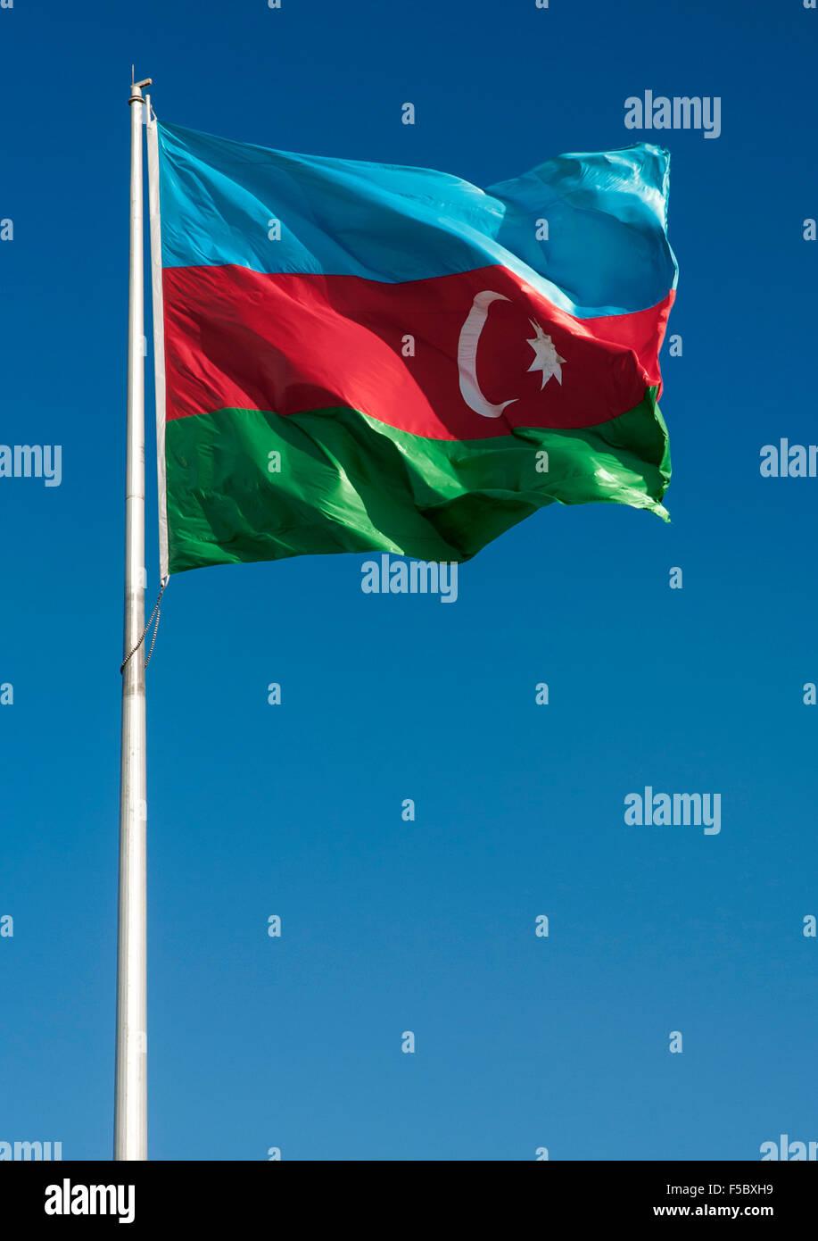 The flag of Azerbaijan. - Stock Image