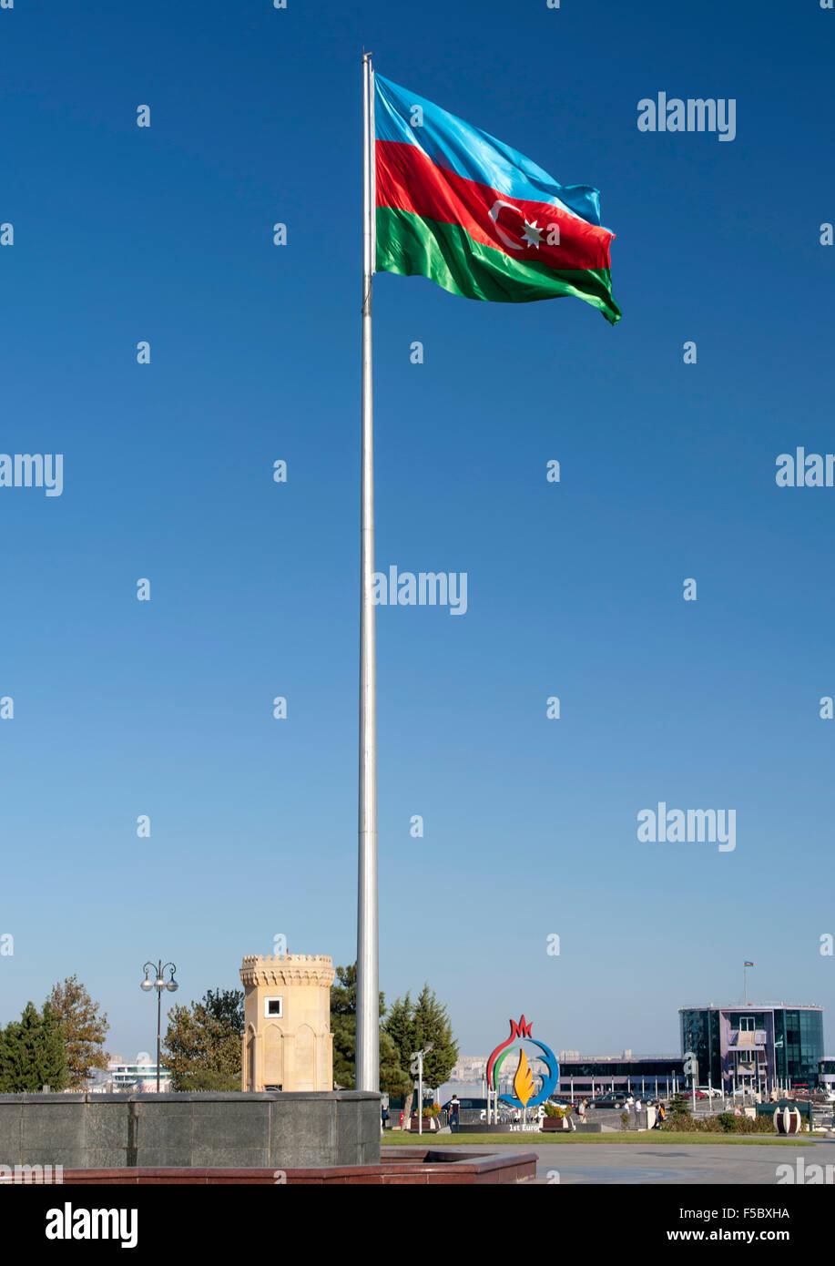 The flag of Azerbaijan in Bulvar park in Baku, the capital city. - Stock Image