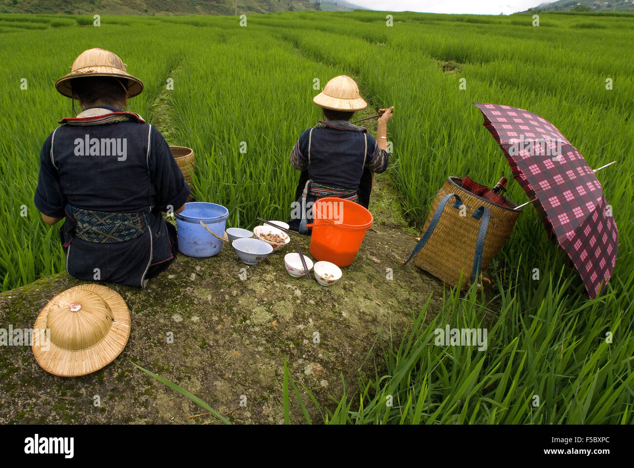 Some Hmong women eating next to a rice field in Sapa way to the nearby villages of Lao Chai and Ta Van. Vietnam. - Stock Image