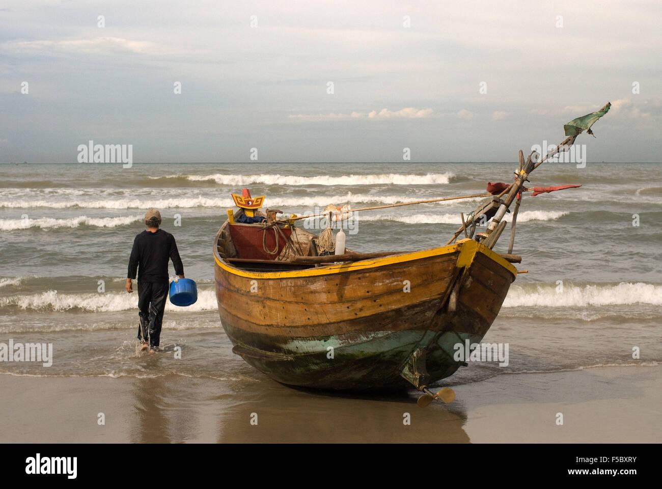 Vietnam, Mui Ne, Mui Ne Beach, Fishing Catch. fishing village, Bình Thuận Province, Vietnam. - Stock Image