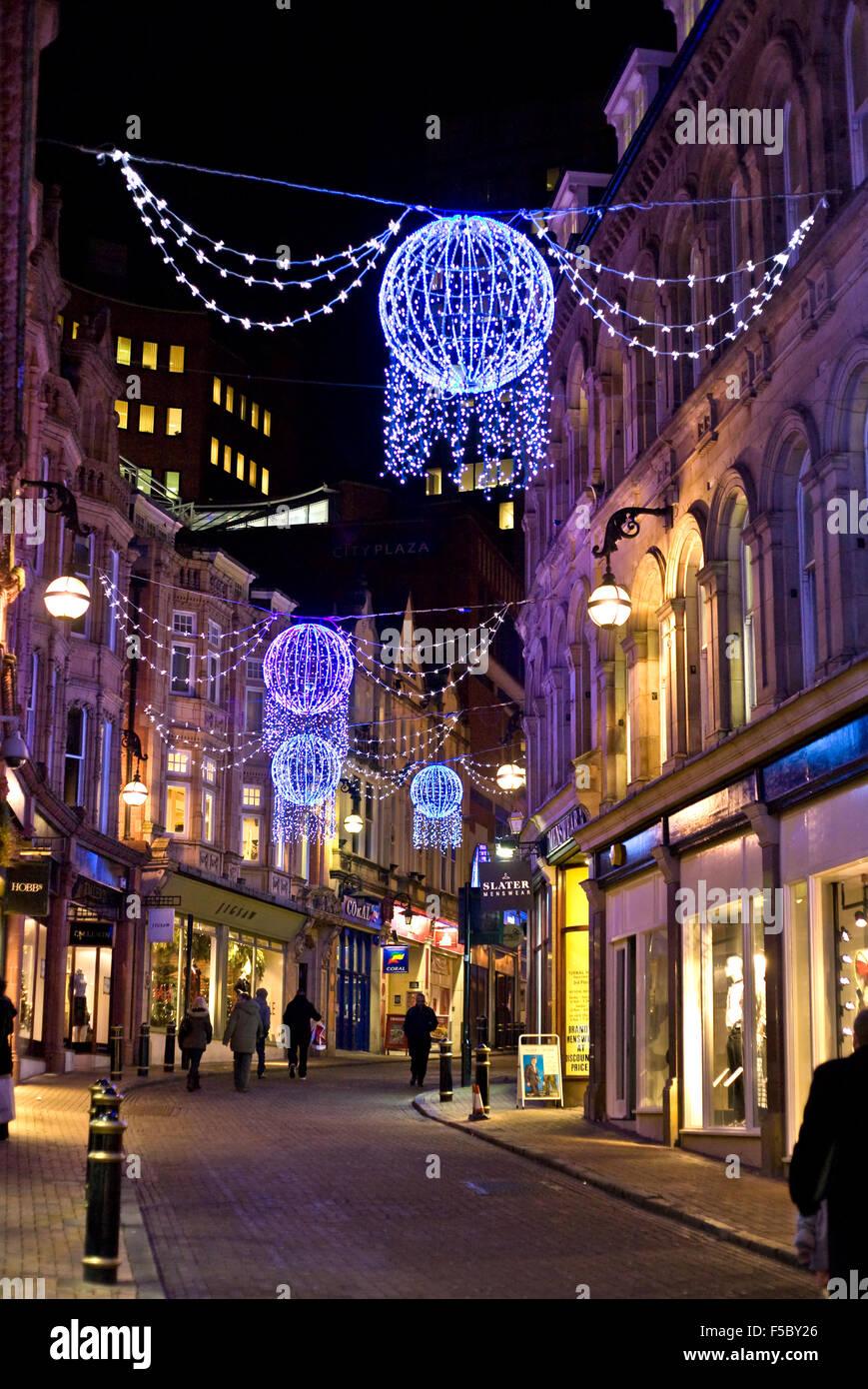 Birmingham Christmas Lights.Christmas Lights In Birmingham Stock Photos Christmas