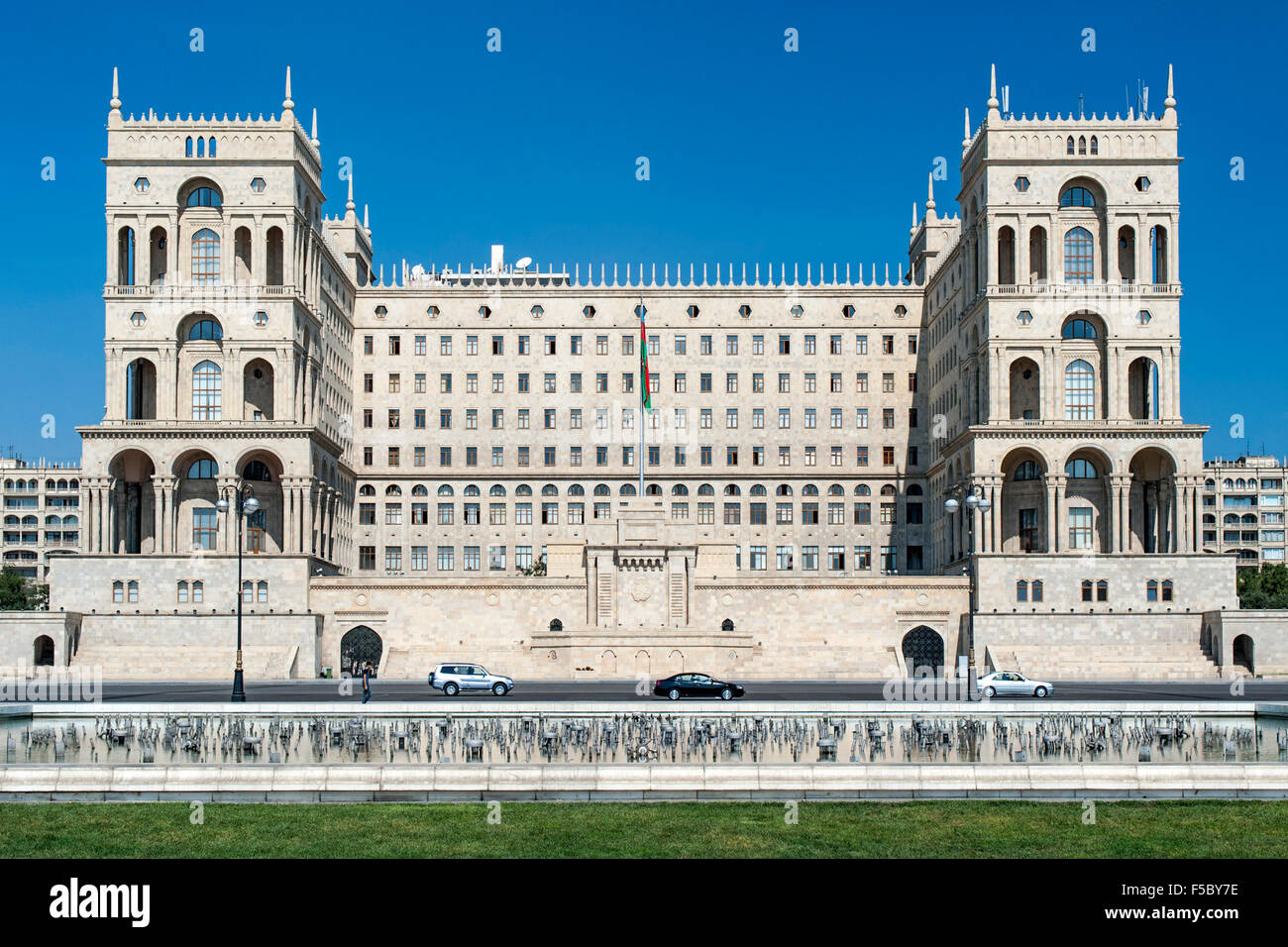 The Government House building on Neftcilar Avenue in Baku, the capital of Azerbaijan. - Stock Image