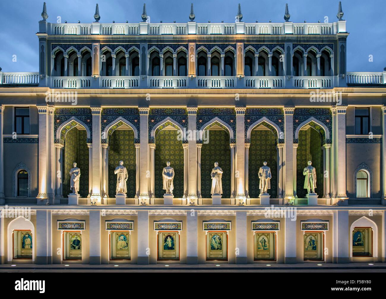 The Nizami Museum of Azerbaijan Literature in Baku. The statues are of famous Azeri writers. - Stock Image
