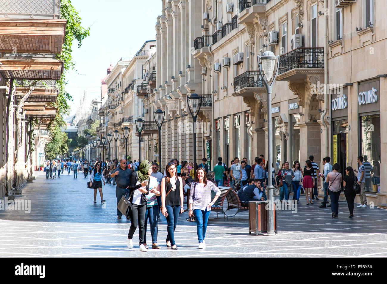 Pedestrians on Nizami street in central Baku. The street is named after classical poet Nizami Ganjavi. Stock Photo