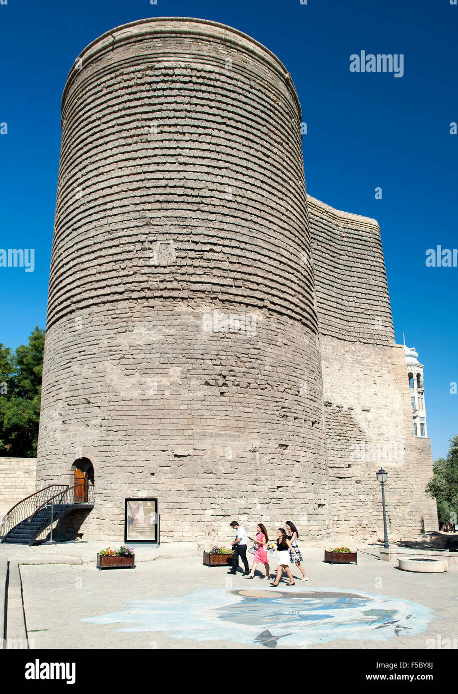 Maiden Tower in the old town of Baku, the capital of Azerbaijan. - Stock Image