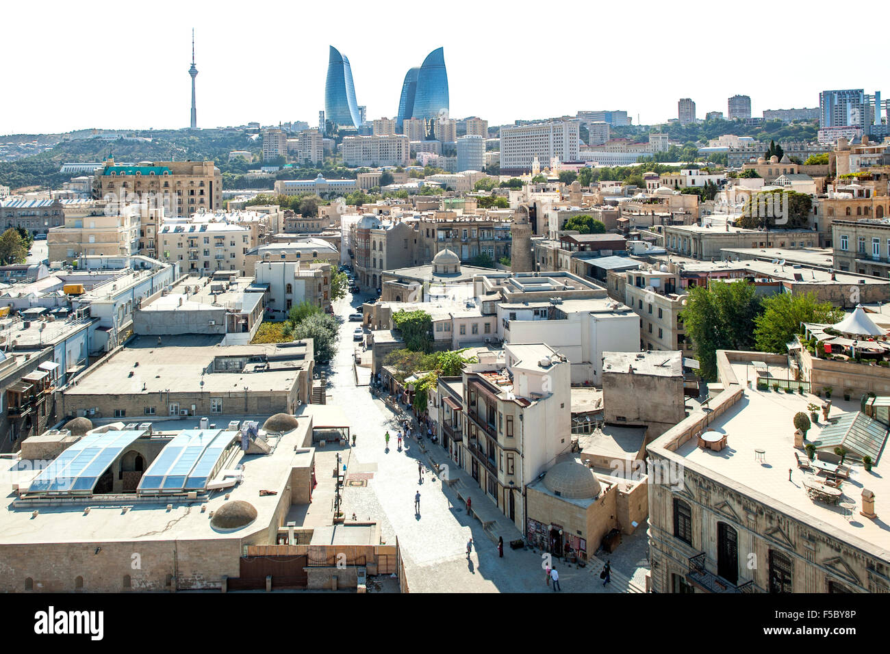 View from Maiden Tower of the old town and skyline of Baku, the capital of Azerbaijan. - Stock Image