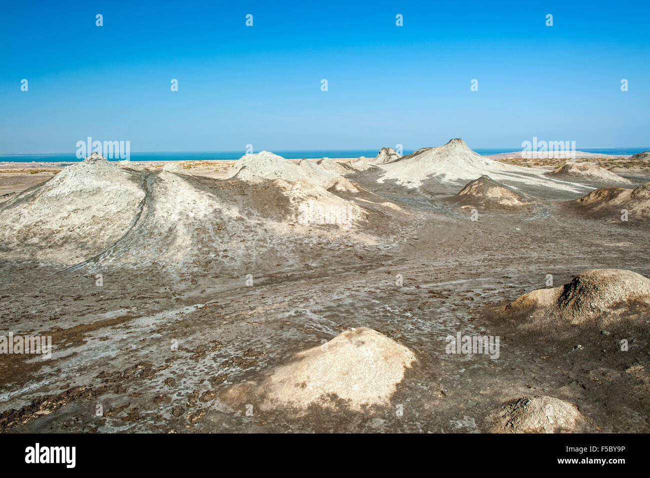 Mud volcanoes in Gobustan National Park in Azerbaijan. - Stock Image