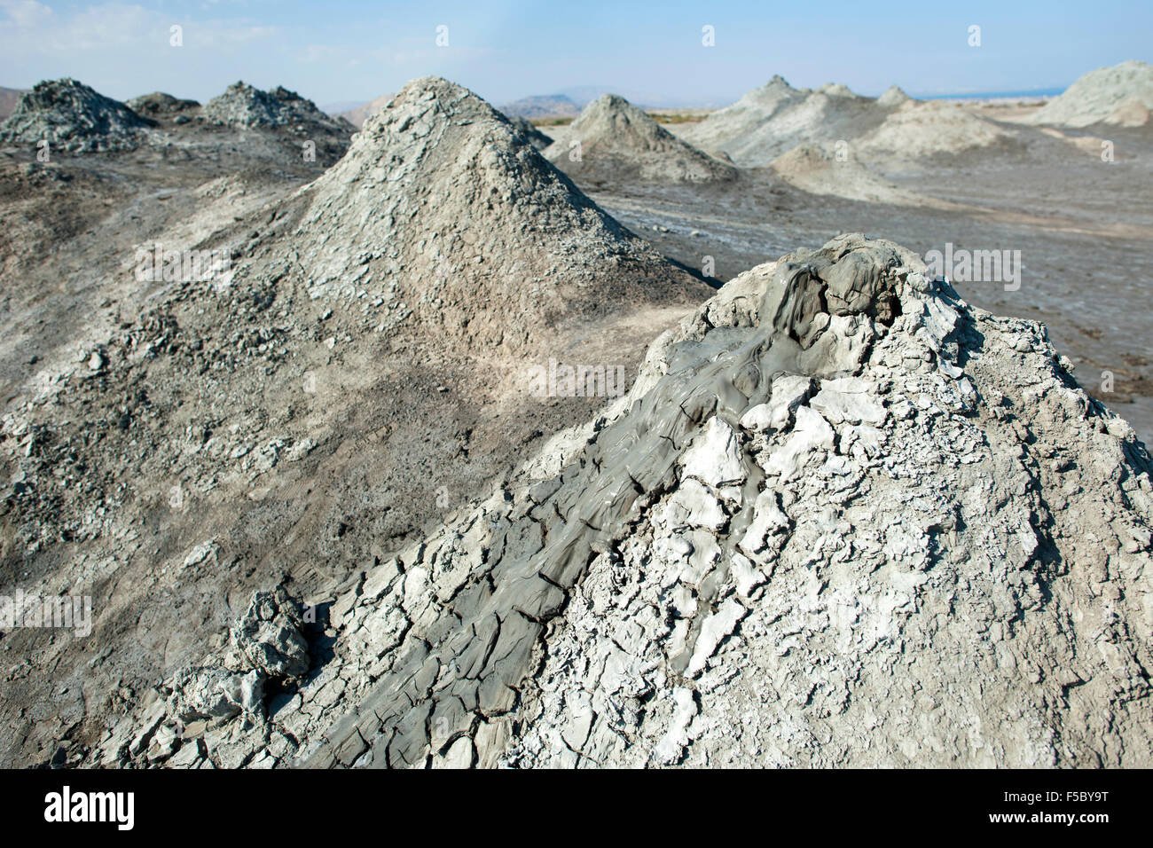 Mud volcanoes in Gobustan National Park in Azerbaijan. Stock Photo