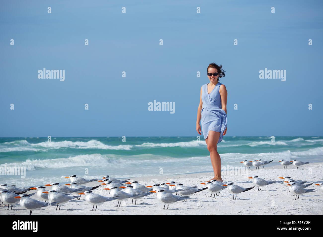 Young woman on Siesta Key beach, Florida - Stock Image