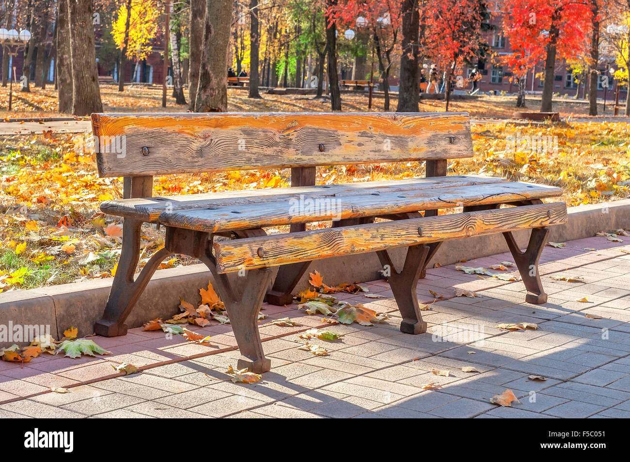 Lonely old bench in autumn city park on a sunny day - Stock Image