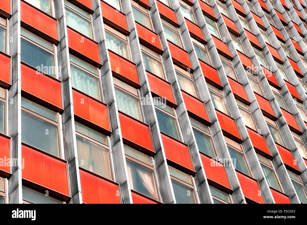 Multi-story office building with terracotta panels - Stock Image