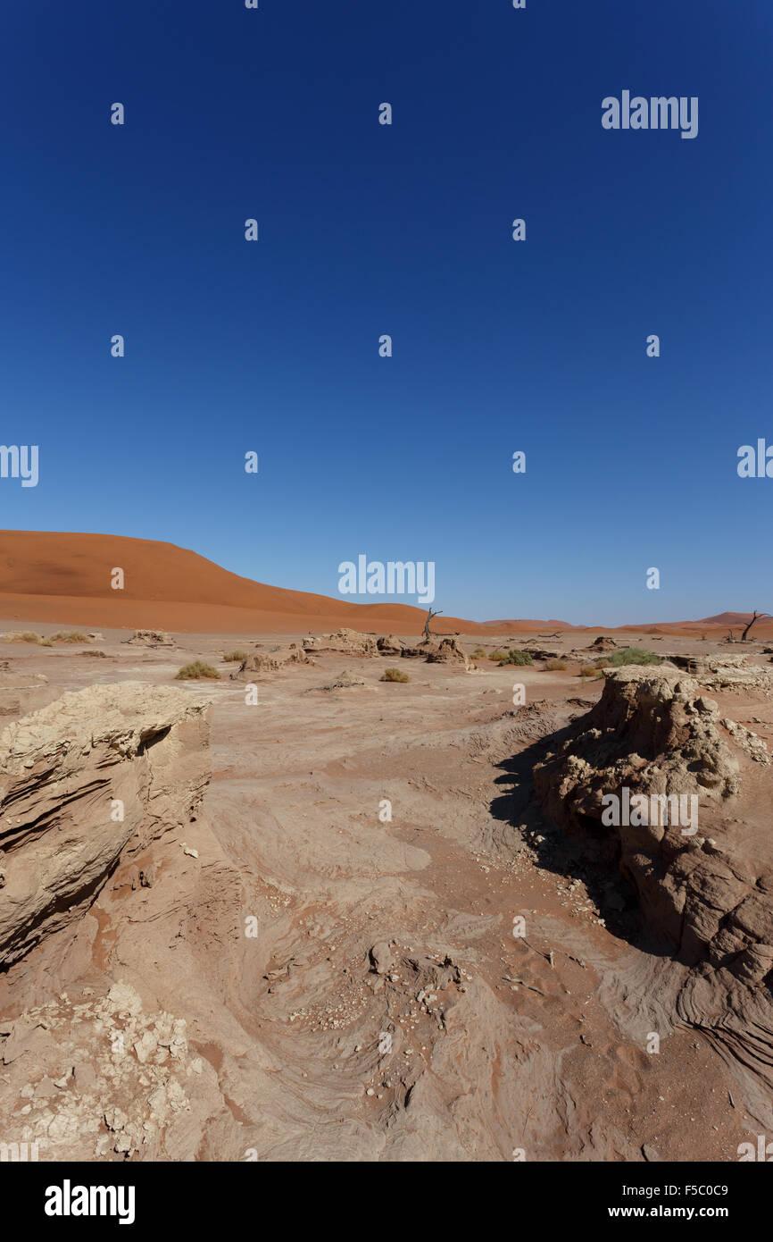 beautiful sunrise landscape of hidden Dead Vlei in Namib, blue sky, best place of Namibia - Stock Image