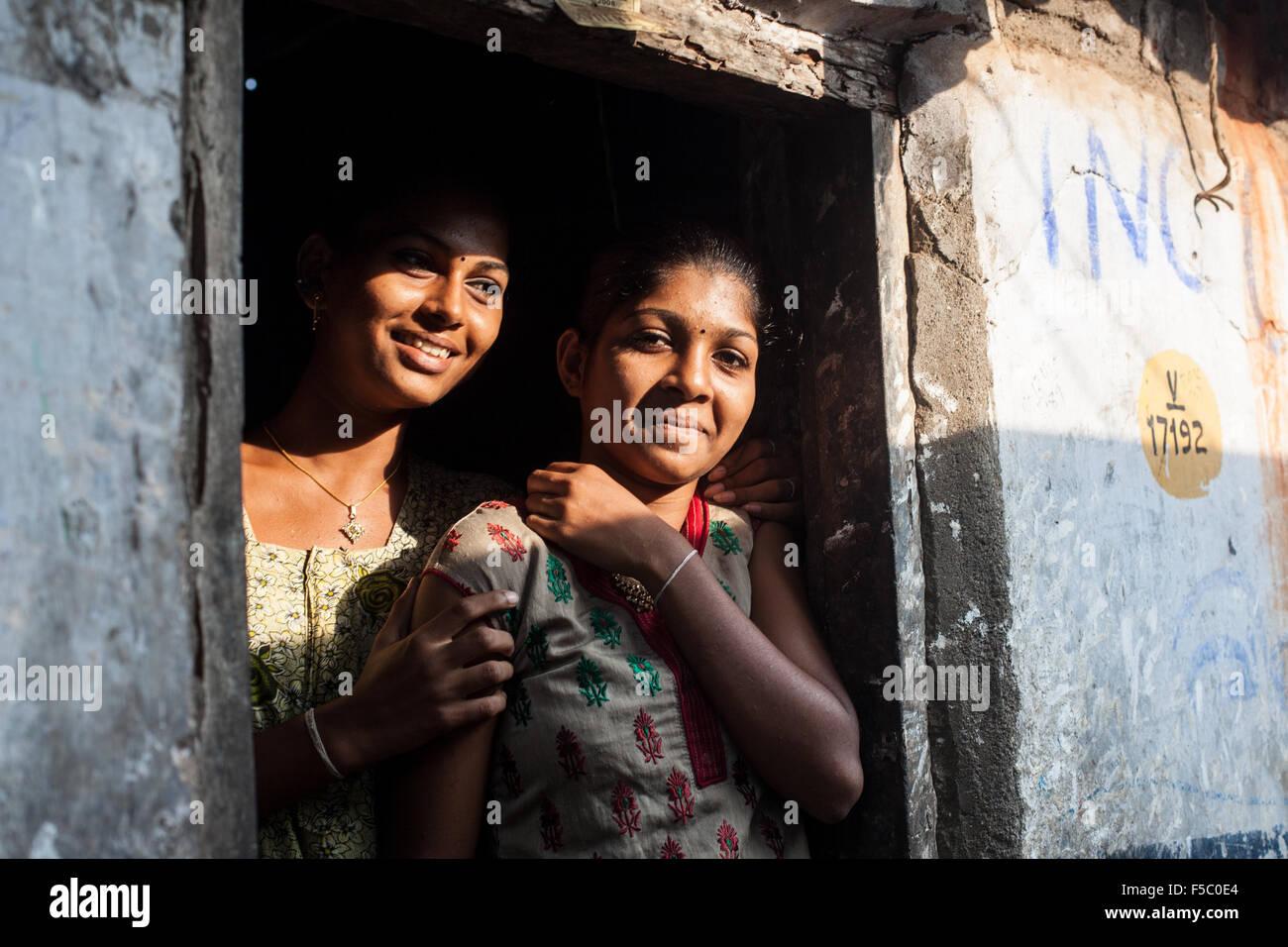 Vizhinjam Christian fisherman village in Kerala, India, November 2014. Young unmarried Christian women - Stock Image