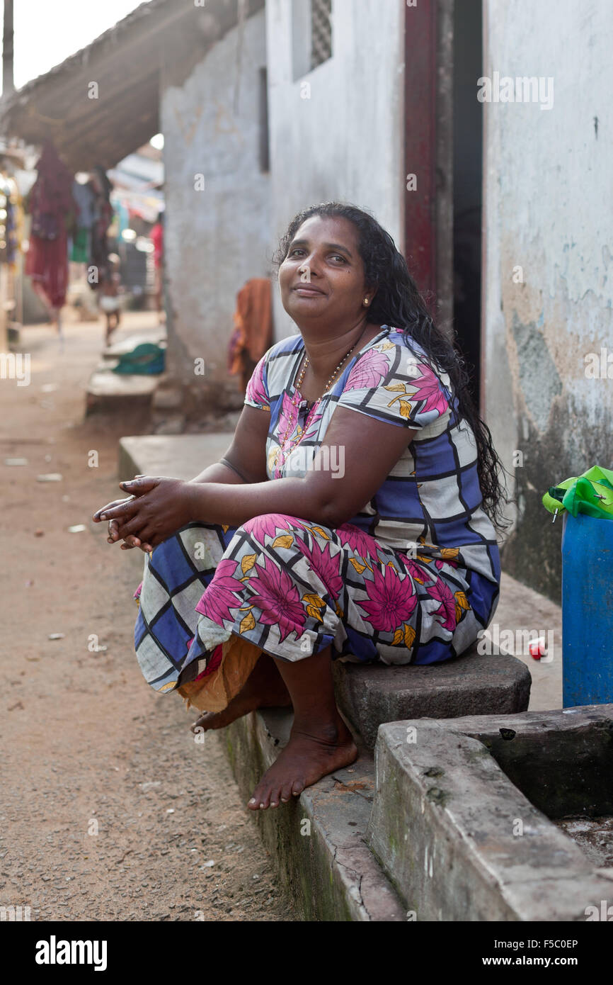 Vizhinjam Christian fisherman village in Kerala, India, November 2014. People in the village live in poverty. - Stock Image