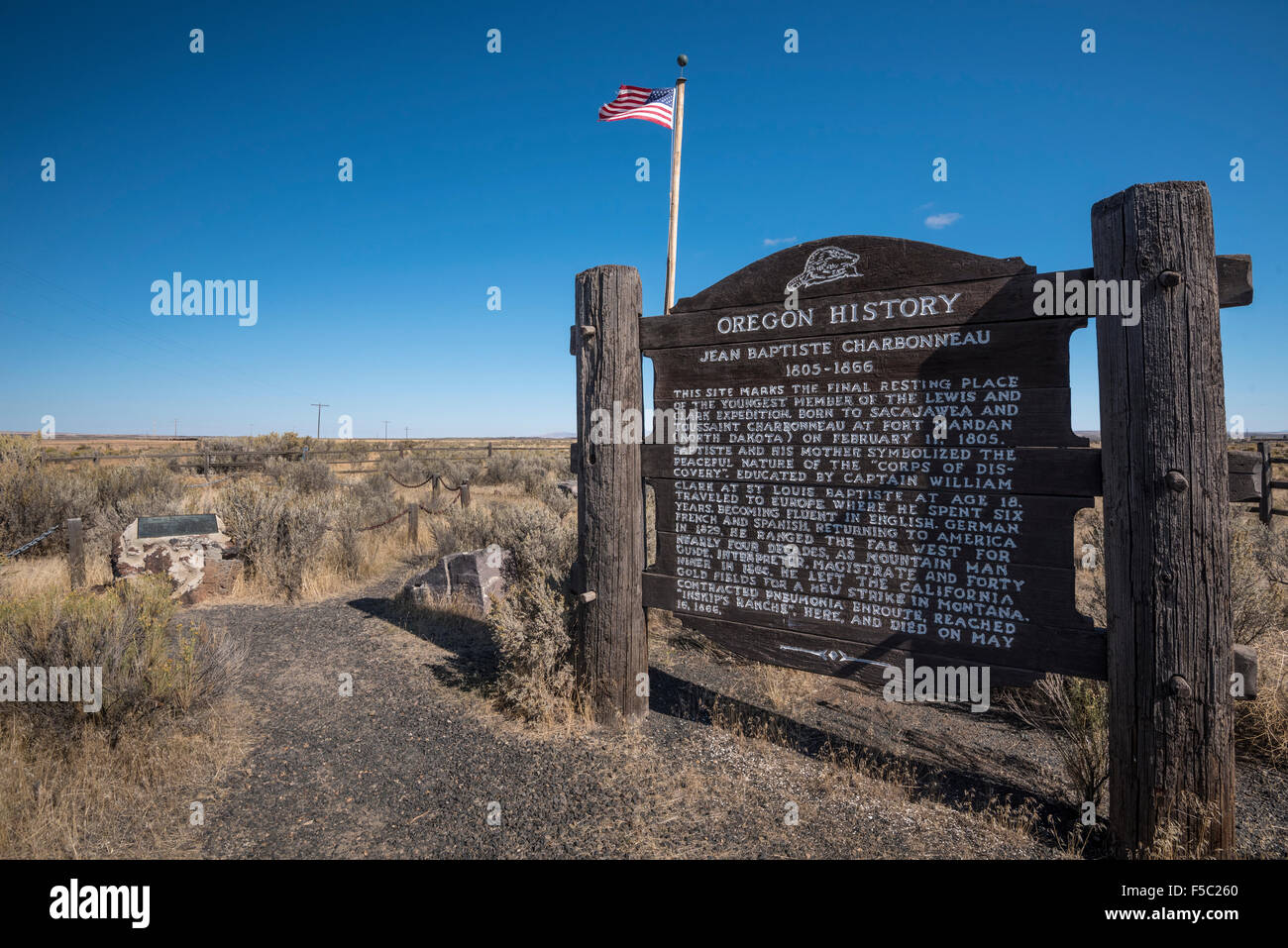 "Gravesite and historical marker for Sacagawea's son ""Pomp"" (Jean Baptiste Charbonneau); Malheur County, southeastern - Stock Image"