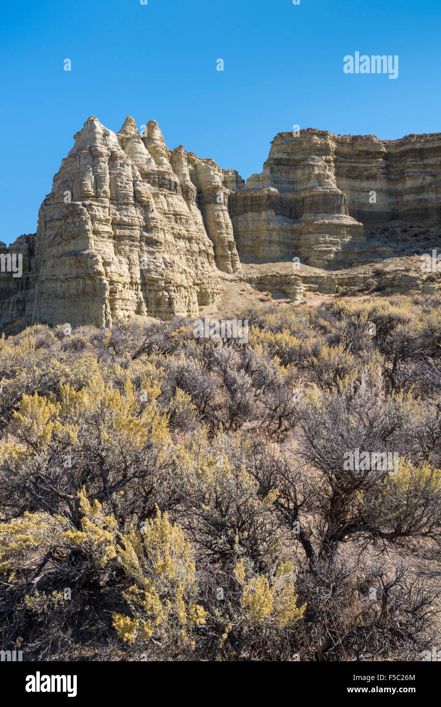 Pillars of Rome rock formation, Jordan Valley, southeast Oregon. - Stock Image