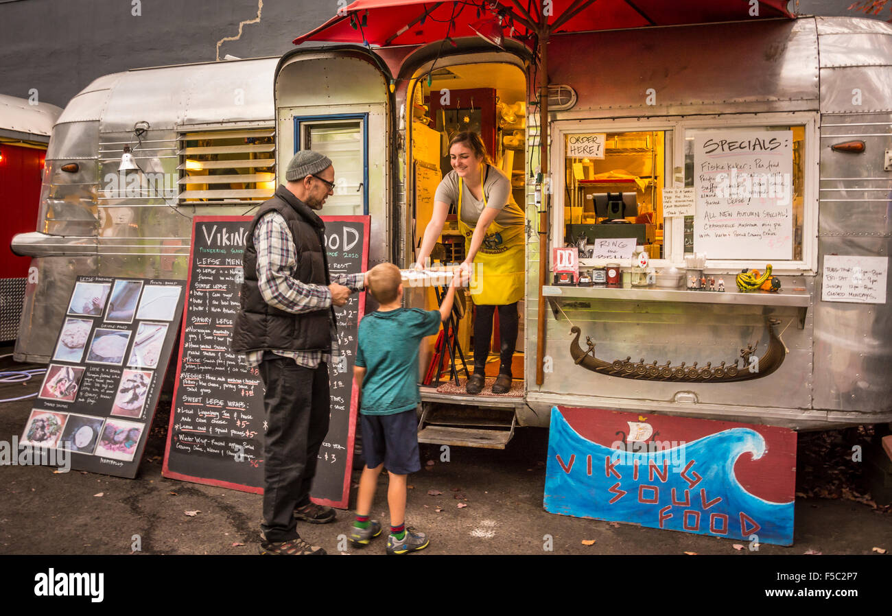 Viking Soul Food trailer at the Good Food Here food carts pod on Belmont Street in southeast Portland, Oregon. - Stock Image