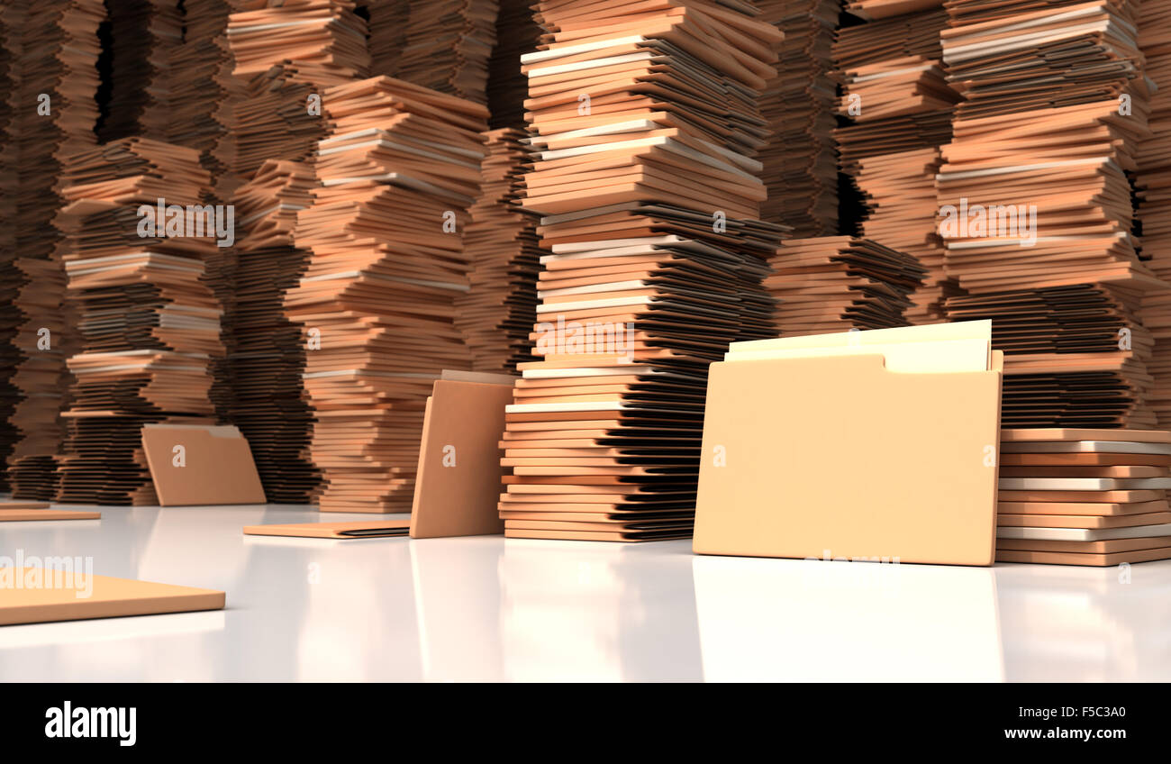 Chaos in archive from folders - Stock Image