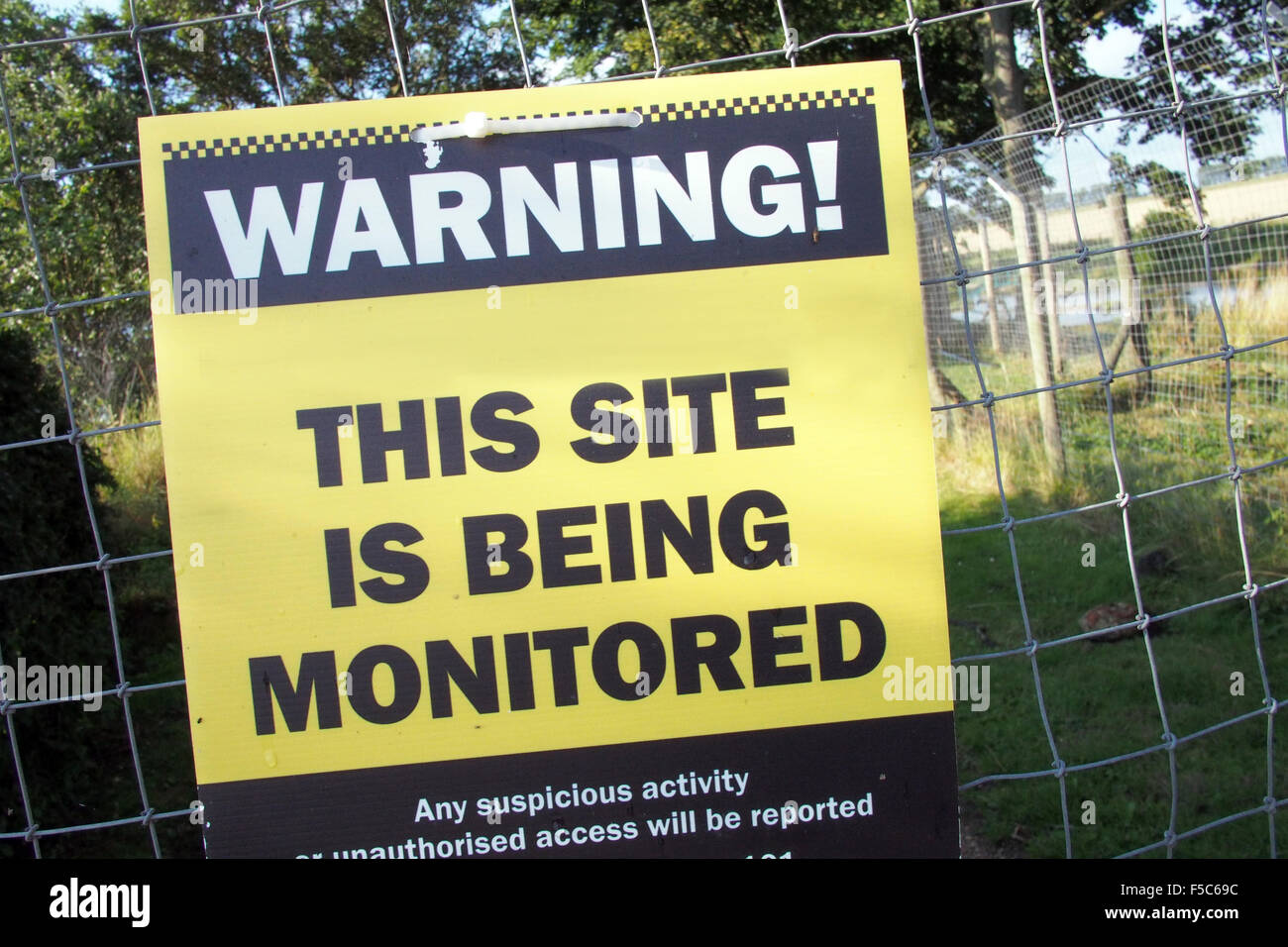 WARNING private property CCTV monitoring sign England UK - Stock Image