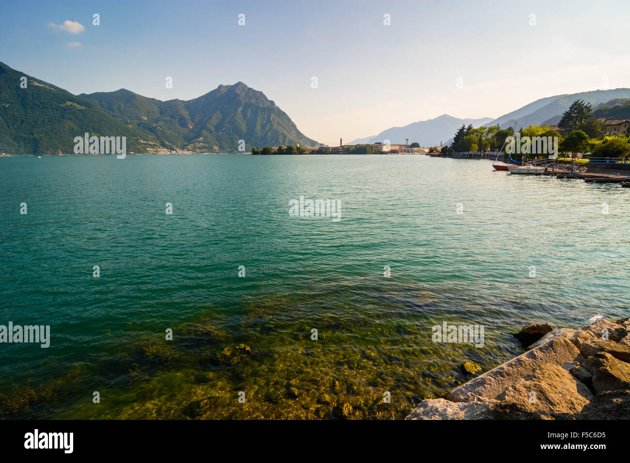 In the picture a view of Lake Iseo from the town of Lovere, Italy. - Stock Image