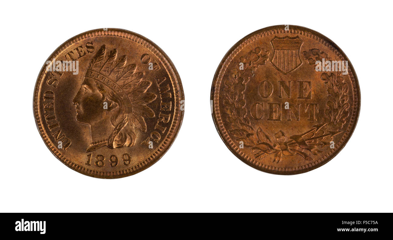 High quality American Indian Head cents, front and back, isolated on white background. Issued by United States mint. - Stock Image