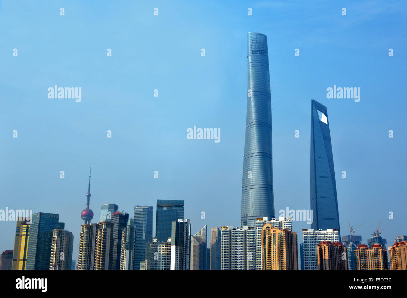 SHANGHAI, CN - MAR 17 2015:Pudong New Area skyline in Shanghai, China.Pudong is home to the Lujiazui Finance and - Stock Image