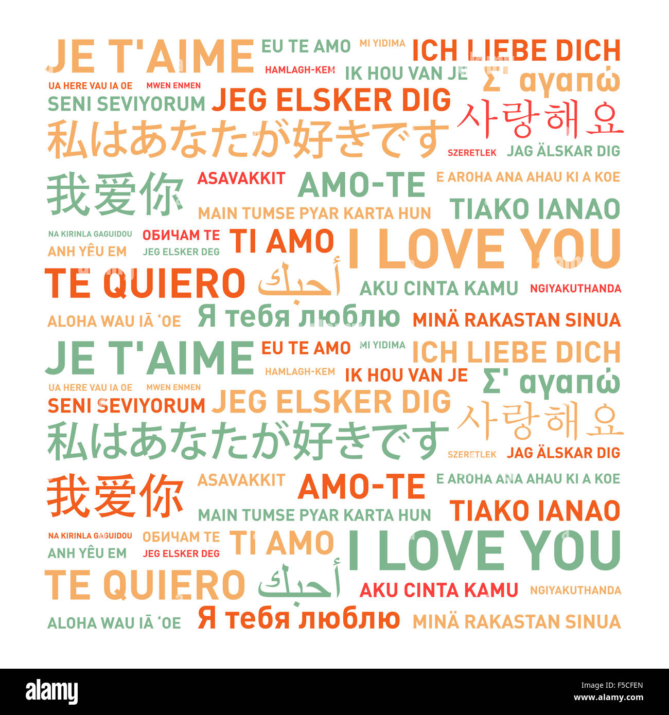 I Love You Card Translated In Different World Languages Stock Image