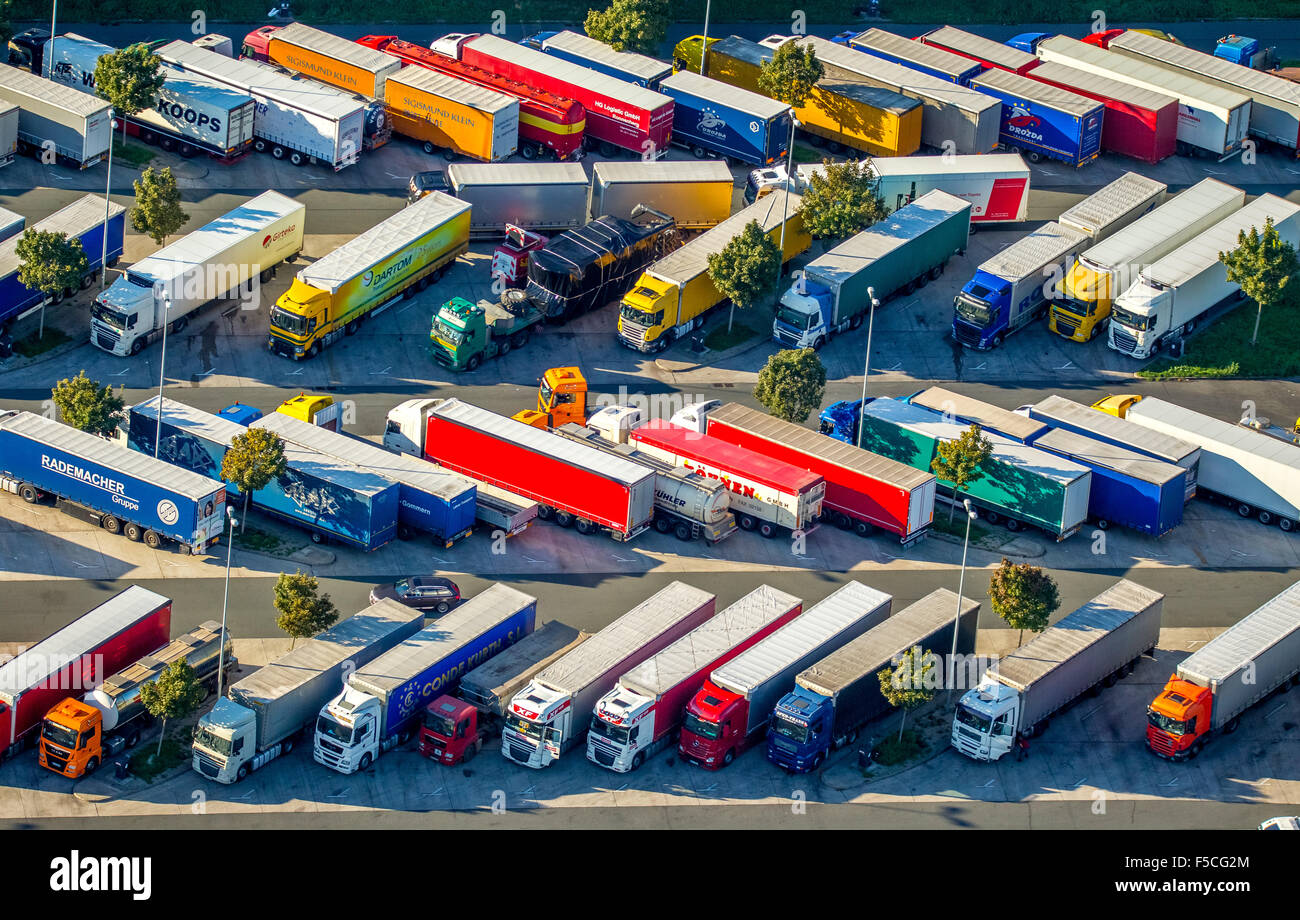 Truck rest area, roost, rest area , highway rest area - Stock Image