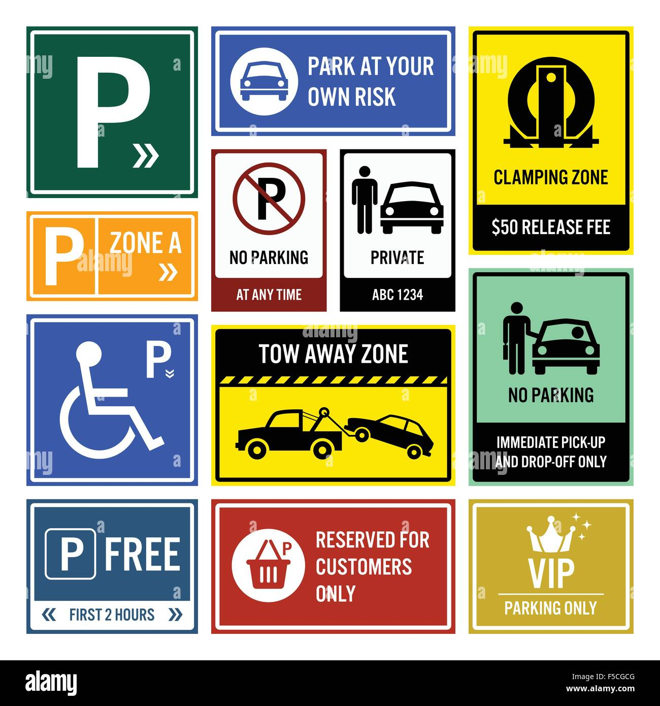 Car Park Parking Signs Signboards - Stock Image