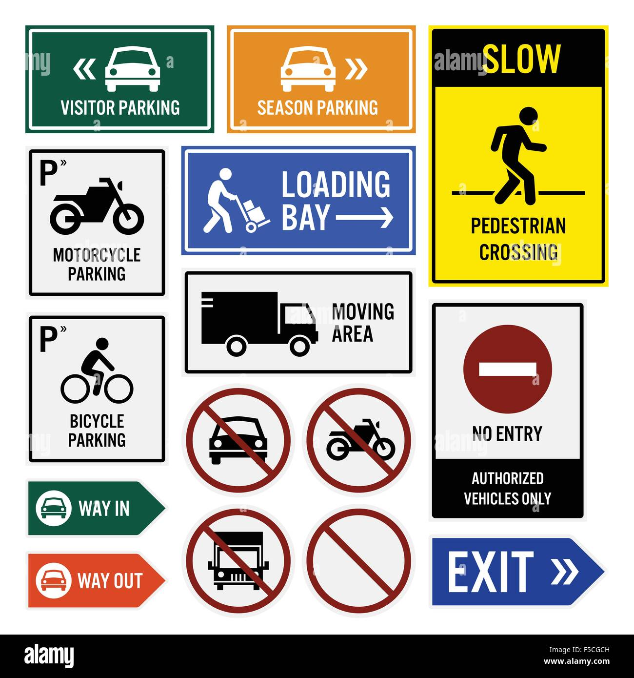 Parking Area Compound Signs Signboards - Stock Image