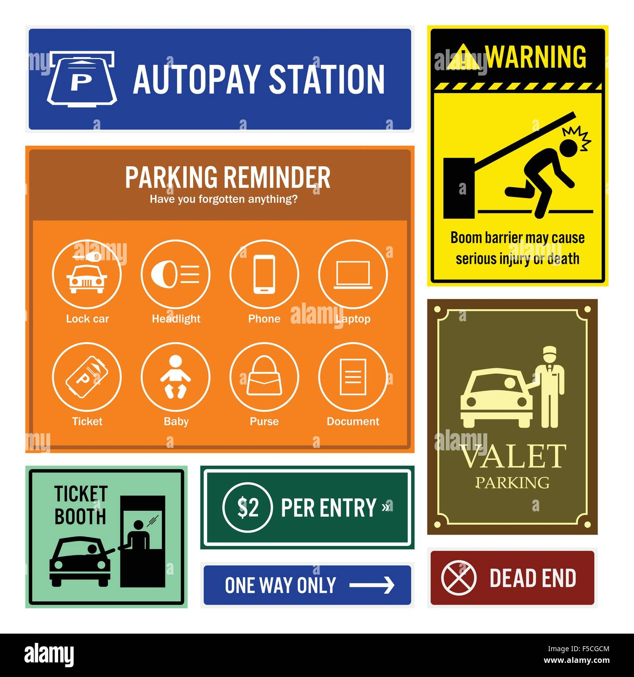 Car Park Reminder and Information Signs Signboards - Stock Image
